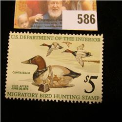 1975 RW 42 Federal Migratory Bird Hunting $5 Stamp, unsigned, partial gum.