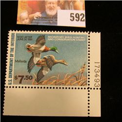 1980 RW 47 Federal Migratory Bird Hunting $7.50 Stamp, unsigned, original gum, NH, VF, Line number s
