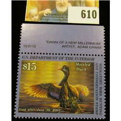 2000 RW 67 Federal Migratory Bird Hunting $15.00 Stamp, unsigned, original gum, NH, VF. Plate number