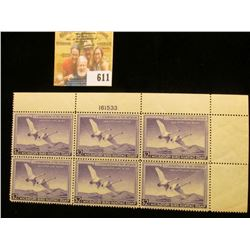 1950 RW17 Federal Migratory Bird Hunting $2 Stamp, Plate numbered block of Six. This block was value