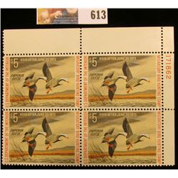 Plateblock of Four 1972 RW39 Federal Migratory Bird Hunting $5 Stamp, Plate numbered block of 4.