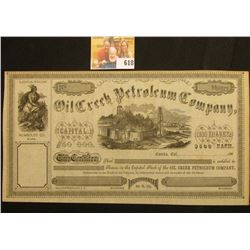 "May 30, 1865 Unissued Stock Certificate ""Oil Creek Petroleum Company Capital $50,000 100 Shares $500"