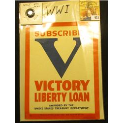 "Glass Window decal ""Subscriber V Victory Liberty Loan Awarded by the United States Treasury Departme"