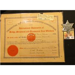 "August 15, 1932 ""Credential to the Twenty-Fourth Convention of the International Association of Brid"
