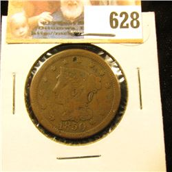 1850 U.S. Large Cent, VG, slight damage.