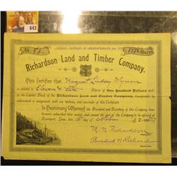 "Oct. 1st, 1917 Stock Certiticate No. 83 for 1146 Shares at $100 per Share of ""Richardson Land and Ti"