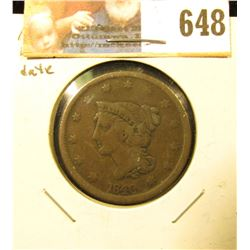 1840 Large Date U.S. Large Cent, VG.