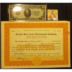 "Capital Stock Certificate for 10 Shares ""Florida West Coast Development Company"" Number 72, dated Ju"