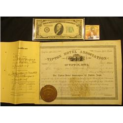 "Number 18 ""Tipton Hotel Association of Tipton, Iowa."" 1890 era with Stub Certificate June 29, 1908;"