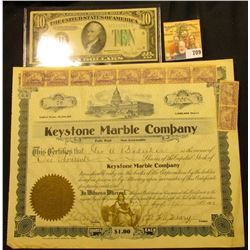 "May 17th, 1902 ""Keystone Marble Company"" Stock Certificate No. 70 for 1000 Shares of Capital Stock,"