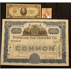 "May 5th, 1939 Stock Certificate for 80 Shares of ""Doehler Die Casting Co….State of New York"", No. CO"