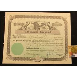 "April 3rd, 1951 Stock Certificate for 2 1/2 Shares of ""Lift Products, Incorporated"" Common Stock, up"