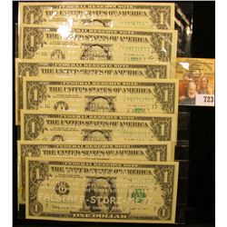 "(7) Crisp Uncirculated Series 1963 B ""Joseph Barr"" $1 Federal Reserve notes all in special holders """