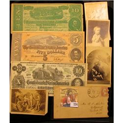 1865 Civil War Era Stamped Cover from New Orleans, Loisiana; (4) Civil War Era Black & White Photos,