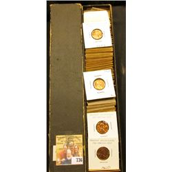 "12"" x 2"" x 2"" Stock Box full of Lincoln Cents dating 1961-73S. Many BU."