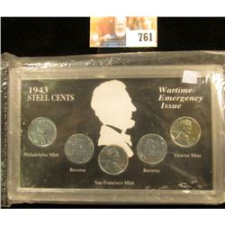 1943 Steel Cents Wartime Emergency Issue Coin Set in special holder, (5 pcs.) Very nice high grade.