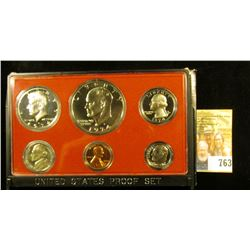 1973 S U.S. Proof Set in original holder. Includes Cent to Eisenhower Dollar.