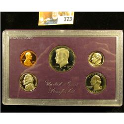 1985 S Cameo Frosted U.S. Proof Set in original holder. Includes Cent to Half-Dollar.