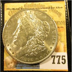 1892 P U.S. Morgan Silver Dollar, Choice Brilliant Uncirculated.