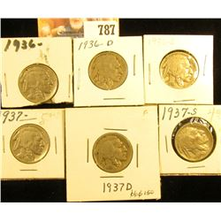 1936 P, D, S, 37 P, D, & S Buffalo Nickels. Grades up to VF.