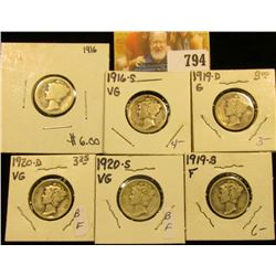 1916 P, 16 S, 19 D, 19 S, 20 D, & 20 S Mercury Dimes, grades up to Fine.