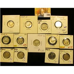 1927 P, D, 28 P, D, S, 29 P, D, S, 30 P, S, 31 P, D, & S Mercury Dimes grading up to VF.