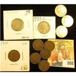 1912 P Lincoln Cent; (6) Old Indian Head Cents; 1935 D & S Buffalo Nickels; & (3) Old Liberty Head N