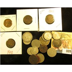 .75c Face Canada 80% Silver Coins; .20c face 50% Fine Silver Dimes; U.S. Silver Quarter, holed; (8)