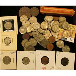 (50) Old U.S. Wheat Cents and a mixed selection of unsorted U.S. & Foreign Coins. Some Silver.