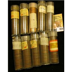 """(10) Rolls of Lincoln Cents in plastic tubes, unchecked by me, but most appear to be """"Wheat Cents""""."""