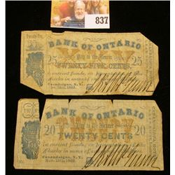 "Original 20c & 25c Scrip from ""Bank of Ontario"" Nov. 15th, 1862. U.S. Civil War era."