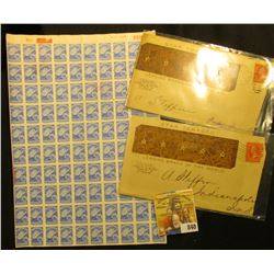 """Original Sheet with pink backing of 100 """"West Virginia Liquor Control Commission"""" Stamps; & a matche"""