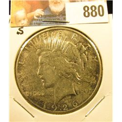 1926 S U.S. Peace Silver Dollar, cleaned VF.