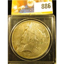 1923 P U.S. Peace Silver Dollar, AU-Uncirculated. In a Snaptight case.