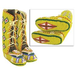Rare Beaded-Sole Child's Moccasins