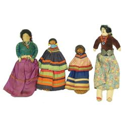 4 Antique Indian Dolls