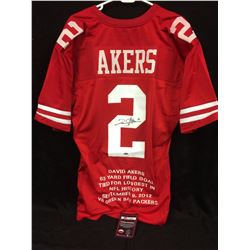 DAVID AKERS AUTOGRAPHED 49ERS FOOTBALL JERSEY W/ COA (STAT INSCRIPTIONS)