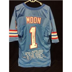 WARREN MOON AUTOGRAPHED HOUSTON OILERS FOOTBALL JERSEY W/ GT COA (STAT INSCRIPTIONS)