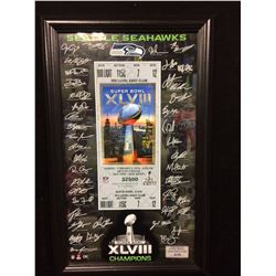 "SEATTLE SEAHAWKS 12"" X 20"" FRAMED LARGE SUPERBOWL XLVIII TICKET W/ ALL PLAYERS FACSIMILE AUTOGRAPHS"