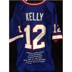JIM KELLY AUTOGRAPHED BUFFALO BILLS JERSEY W/ JSA COA (STAT INSCRIPTIONS)