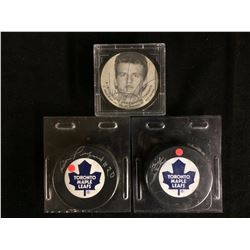 AUTOGRAPHED HOCKEY PUCK LOT (PULFORD, WATTERS, DAMPHOUSE)