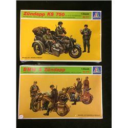 ITALERI 1:35 SCALE ZUNDAPP KS 750 /  BMW & ZUNDAPP MODEL KIT LOT (UNBUILT)
