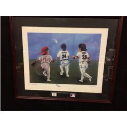"LARKIN, GRIFFEY JR & BONDS AUTOGRAPHED 25"" X 21"" FRAMED DRAWING/ PRINT AS SMALL CHILDREN"