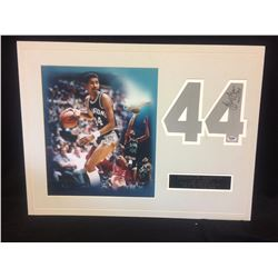 "GEORGE GERVIN AUTOGRAPHED JERSEY NUMBER W/ PHOTO  MATTED (PSA COA) 16"" X 20"""