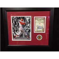"""STAN MUSIAL AUTOGRAPHED 16"""" X 19"""" FRAMED COLLAGE W/ 2 PHOTOS & 1 MEDALLION (PSA COA) ONE PHOTO AUTO"""