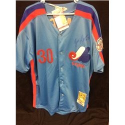 TIM RAINES AUTOGRAPHED MONTREAL EXPOS BASEBALL JERSEY W/ JSA COA (COOPERSTOWN AUTHENTIC COLLECTION)