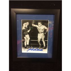 "JAKE LAMOTTA AUTOGRAPHED 8"" X 10"" FRAMED PHOTO (PSA COA)"