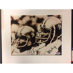 "OJ SIMPSON & AL COWLING AUTOGRAPHED 8"" X 10 MATTED PHOTO (PSA COA)"
