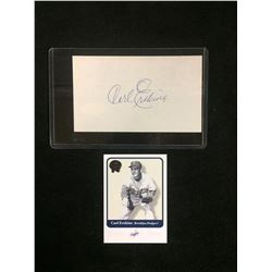 CARL ERSKINE AUTOGRAPH W/ TRADING CARD
