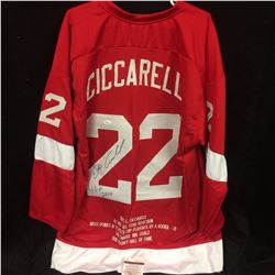 "Dino Ciccarelli Signed Red Wings Career Highlight Stat Jersey Inscribed ""Stanley Cup Champion"" (JSA"
